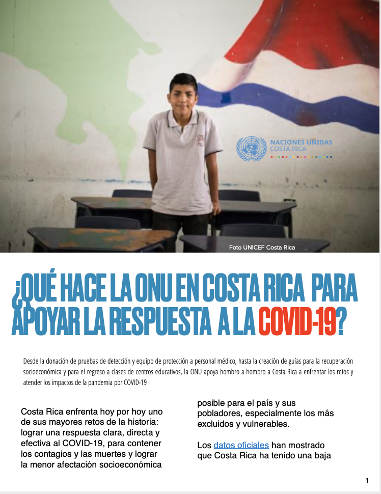 ¿Qué hace la ONU en Costa Rica para apoyar la respuesta a COVID-19?