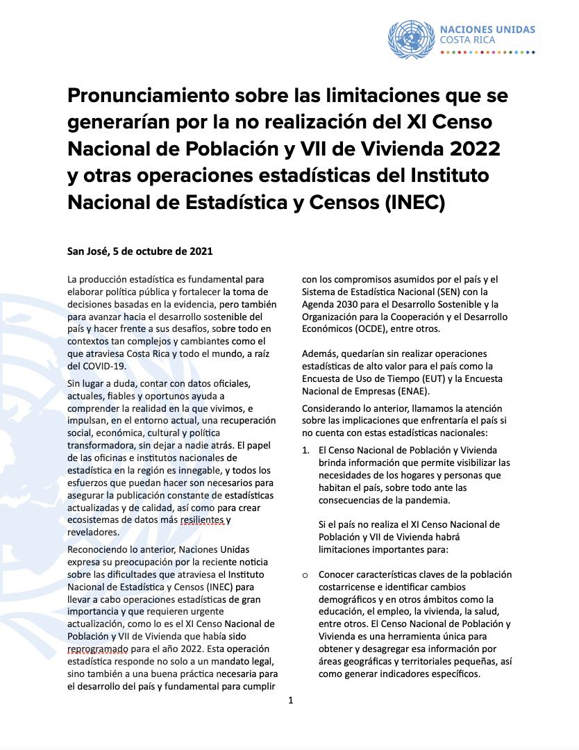 Pronunciamiento sobre las limitaciones que se generarían por la no realización del XI Censo Nacional de Población y VII de Vivienda 2022 y otras operaciones estadísticas del Instituto Nacional de Estadística y Censos (INEC)